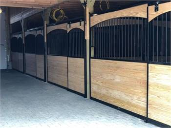 Arched Wood Horse Stalls with Steel Frames