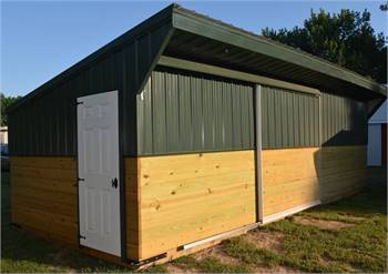 Wood and Metal Closed Front Horse Run In Shed with Tack Room