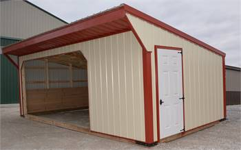 Metal Open Front Horse Run In Shed with Tack Room